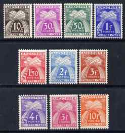 Andorra - French 1943-45 Wheat Sheaves Postage Due set of 10 values to 10f unmounted mint, SG FD101-110