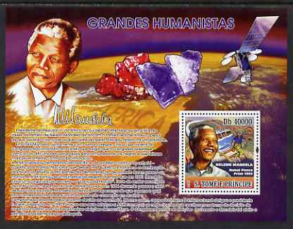 St Thomas & Prince Islands 2007 Nelson Mandela perf s/sheet containing 1 value with Minerals unmounted mint