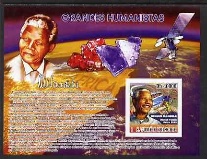 St Thomas & Prince Islands 2007 Nelson Mandela imperf s/sheet containing 1 value with Minerals unmounted mint