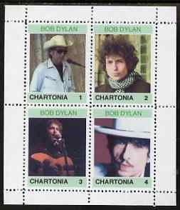 Chartonia (Fantasy) Bob Dylan perf sheetlet containing 4 values unmounted mint, stamps on personalities, stamps on music, stamps on pops, stamps on rock, stamps on dylan