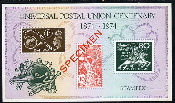 Exhibition souvenir sheet for 1974 Stampex commemorating the UPU Centenary and  showing UPU designs, overprinted SPECIMEN unmounted mint