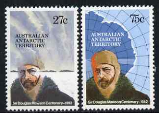 Australian Antarctic Territory 1982 Birth Centenary of Sir Douglas Mawson perf set of 2 unmounted mint, SG53-4