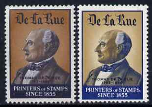 Cinderella - De La Rue undenominated sample stamps, two different colours showing the firm's founder, unmounted mint