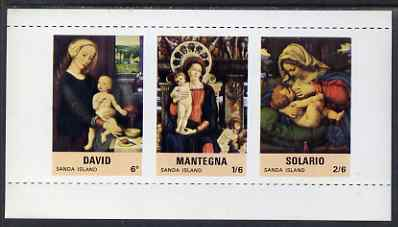 Sanda Island 1967 Christmas, Religious Paintings m/sheet containing set of 3 with vertical roulettes omitted, unmounted mint but some off-set