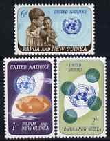 Papua New Guinea 1965 20th Anniversary of UNO perf set of 3 unmounted mint, SG 79-81