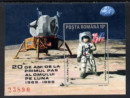Rumania 1989 First Step on the Moon imperf m/sheet (only 24,900 issued) unmounted mint Mi BL 257