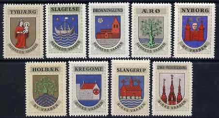 Cinderella - Denmark set of 9 Coats of arms for various Towns, perforated and unmounted mint