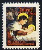 Cinderella - Denmark 1944 Christmas seal showing the Nativity unmounted mint