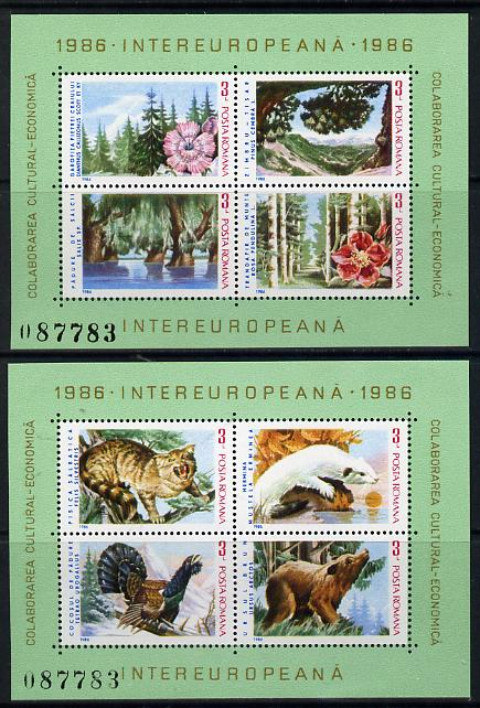 Rumania 1986 Flora & Fauna set of 2 m/sheets unmounted mint, Mi BL 223-24, SG MS 5020