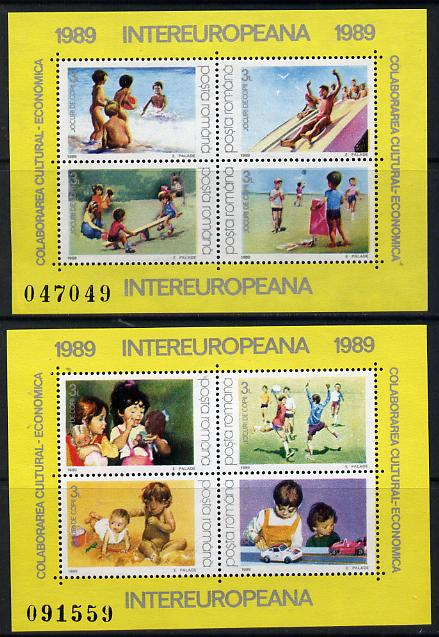 Rumania 1989 Inter-European Co-operation set of 2 m/sheets unmounted mint, Mi BL 254-55