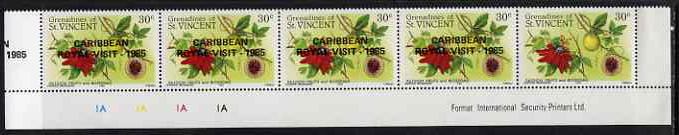 St Vincent - Grenadines 1985 Caribbean Royal Visit on 30c Passion Fruit (Fruits & Blossoms) strip of 5 with overprint omitted from stamp 5 but extra opt appearing in margin at left, unmounted mint as SG 420