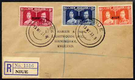 Niue 1937 KG6 Coronation set of 3 on reg cover with first day cancel addressed to the forger, J D Harris.  Harris was imprisoned for 9 months after Robson Lowe exposed hi...