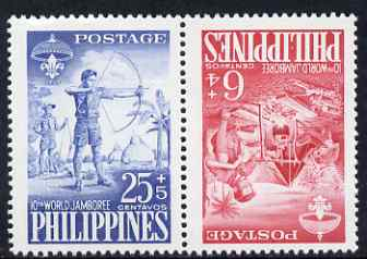 Philippines 1959 Tenth World Scout Jamboree 6c & 25c in tete-beche pair unmounted mint SG823a