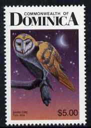 Dominica 1987 Birds $5 Barn Owl unmounted mint SG 1050