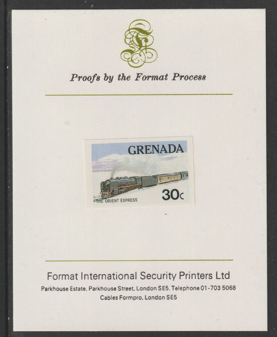 Grenada 1982 Famous Trains 30c Orient Express imperf proof mounted on Format International proof card as SG 1212