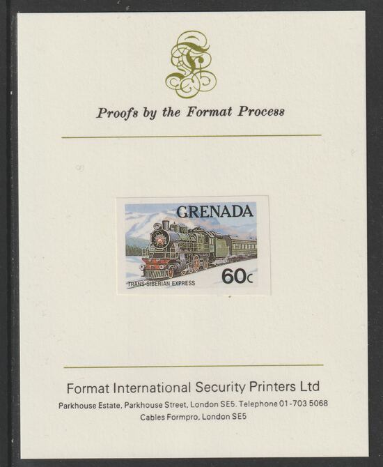Grenada 1982 Famous Trains 60c Trans-Siberian Express imperf proof mounted on Format International proof card as SG 1213