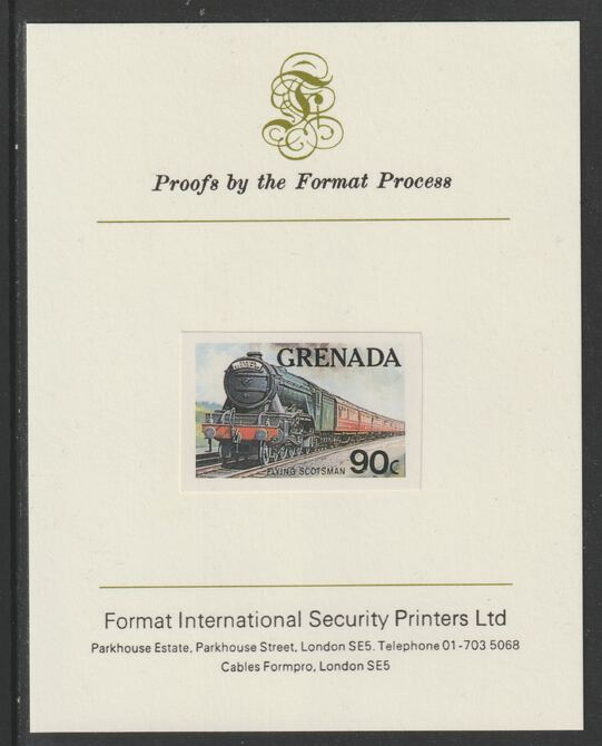 Grenada 1982 Famous Trains 90c Flying Scotsman imperf proof mounted on Format International proof card as SG 1215