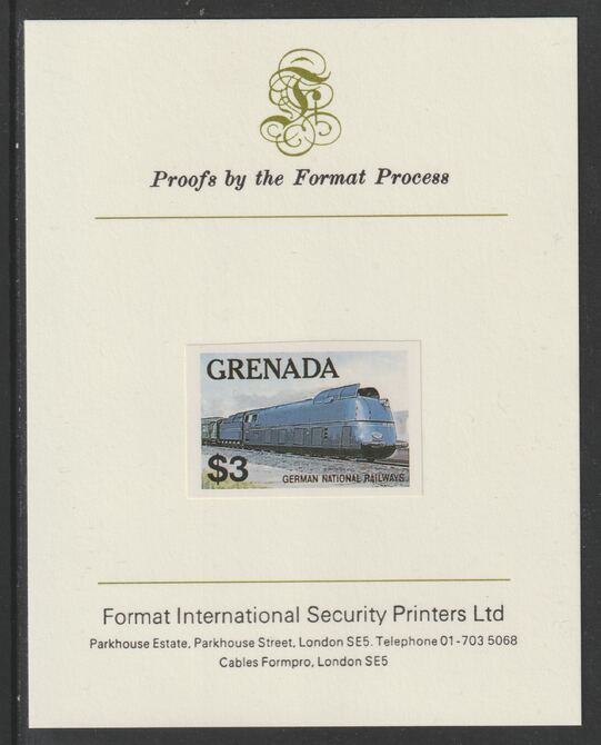 Grenada 1982 Famous Trains $3 German National Railways Clas 05 Loco imperf proof mounted on Format International proof card as SG 1217