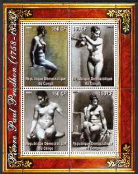 Congo 2004 Nude Paintings by Pierre Paul Prodhon perf sheetlet containing 4 values, unmounted mint