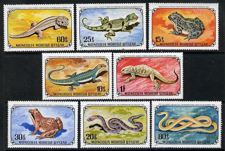 Mongolia 1972 Reptiles set of 8 (Frogs, Snakes & Lizards) unmounted mint, SG 687-94