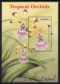 Liberia 1999 Tropical Orchids perf m/sheet #2 (Psychilis atropurpurea) signed by Thomas C Wood the designer unmounted mint, stamps on , stamps on  stamps on flowers, stamps on  stamps on orchids, stamps on  stamps on