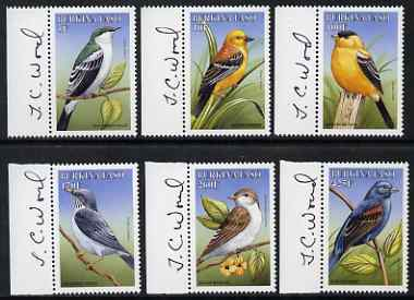 Burkina Faso 1999 Birds perf set of 6 each signed in the margin by Thomas C Wood the designer, unmounted mint