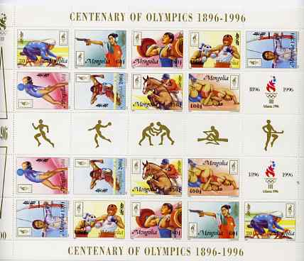 Mongolia 1996 Atlanta Olympics (Centenary) perf sheetlet containing 2 sets of 9 (plus label) unmounted mint, as SG 2548-56