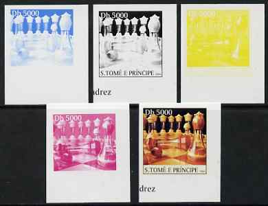 St Thomas & Prince Islands 2004 Chess 5,000 Db the set of 5 imperf progressive proofs comprising the 4 individual colours plus all 4-colour composite, unmounted mint
