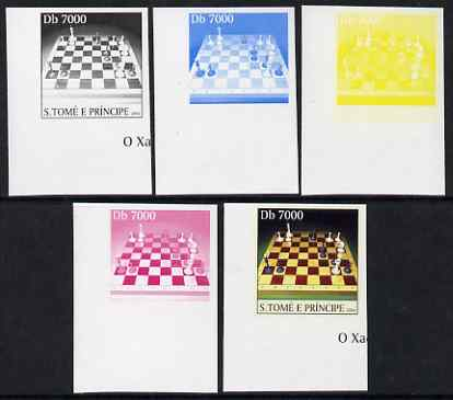 St Thomas & Prince Islands 2004 Chess 7,000 Db the set of 5 imperf progressive proofs comprising the 4 individual colours plus all 4-colour composite, unmounted mint