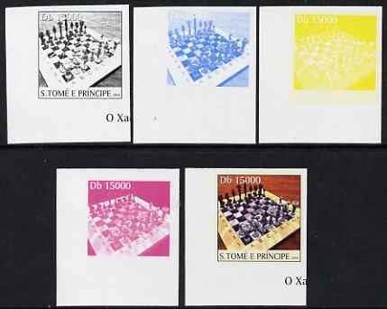 St Thomas & Prince Islands 2004 Chess 15,000 Db the set of 5 imperf progressive proofs comprising the 4 individual colours plus all 4-colour composite, unmounted mint