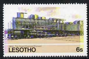Lesotho 1984 Railways of the World 6s The Orient Express with superb shift of red and blue unmounted mint (as SG 605), stamps on railways