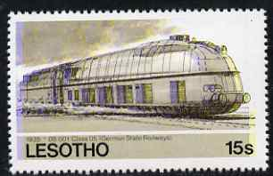 Lesotho 1984 Railways of the World 15s German Class 05 Streamlined loco with superb shift of red and blue unmounted mint (as SG 606)