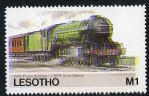 Lesotho 1984 Railways of the World 1m LNER Flying Scotsman with superb shift of red and blue unmounted mint (as SG 609)