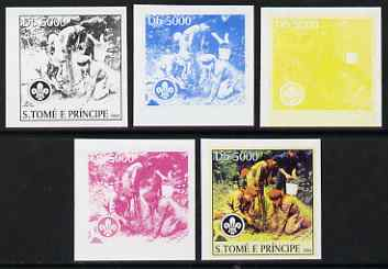 St Thomas & Prince Islands 2004 Scouts 5,000 Db the set of 5 imperf progressive proofs comprising the 4 individual colours plus all 4-colour composite, unmounted mint
