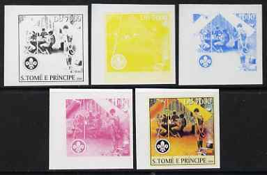 St Thomas & Prince Islands 2004 Scouts 7,000 Db the set of 5 imperf progressive proofs comprising the 4 individual colours plus all 4-colour composite, unmounted mint