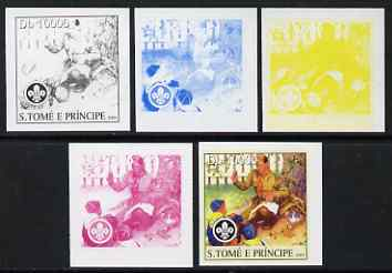 St Thomas & Prince Islands 2004 Scouts 10,000 Db the set of 5 imperf progressive proofs comprising the 4 individual colours plus all 4-colour composite, unmounted mint