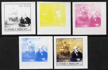St Thomas & Prince Islands 2004 Jules Verne 5,000 Db (with early Sailing Ship) the set of 5 imperf progressive proofs comprising the 4 individual colours plus all 4-colour composite, unmounted mint