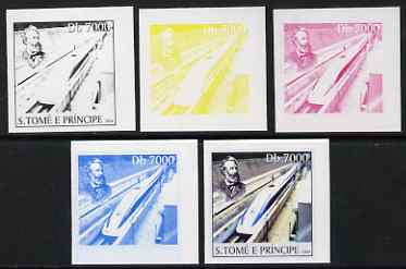 St Thomas & Prince Islands 2004 Jules Verne 7,000 Db (with modern High Speed Train) the set of 5 imperf progressive proofs comprising the 4 individual colours plus all 4-colour composite, unmounted mint