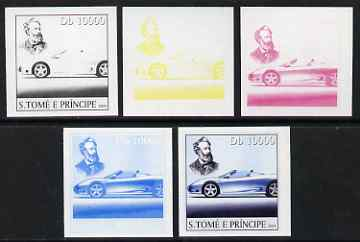 St Thomas & Prince Islands 2004 Jules Verne 10,000 Db (with modern Sports Car) the set of 5 imperf progressive proofs comprising the 4 individual colours plus all 4-colour composite, unmounted mint , stamps on personalities, stamps on literature, stamps on cars, stamps on books, stamps on