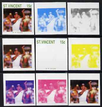 St Vincent 1988 Cricketers 15c D K Lillee the set of 9 imperf progressive proofs comprising the 5 individual colours plus 2, 3, 4 and all 5-colour composites unmounted mint, as SG 1144