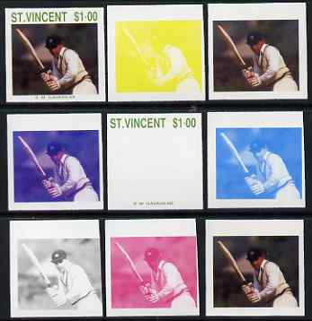 St Vincent 1988 Cricketers $1.00 S M Gavaskar the set of 9 imperf progressive proofs comprising the 5 individual colours plus 2, 3, 4 and all 5-colour composites unmounted mint, as SG 1147