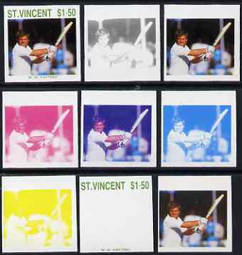 St Vincent 1988 Cricketers $1.50 Mike Gatting the set of 9 imperf progressive proofs comprising the 5 individual colours plus 2, 3, 4 and all 5-colour composites unmounted mint, as SG 1148, stamps on personalities, stamps on sport, stamps on cricket