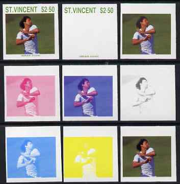 St Vincent 1988 Cricketers $2.50 Imran Khan the set of 9 imperf progressive proofs comprising the 5 individual colours plus 2, 3, 4 and all 5-colour composites unmounted mint, as SG 1149
