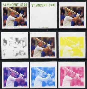 St Vincent 1988 Cricketers $3.00 Ian Botham the set of 9 imperf progressive proofs comprising the 5 individual colours plus 2, 3, 4 and all 5-colour composites unmounted mint, as SG 1150
