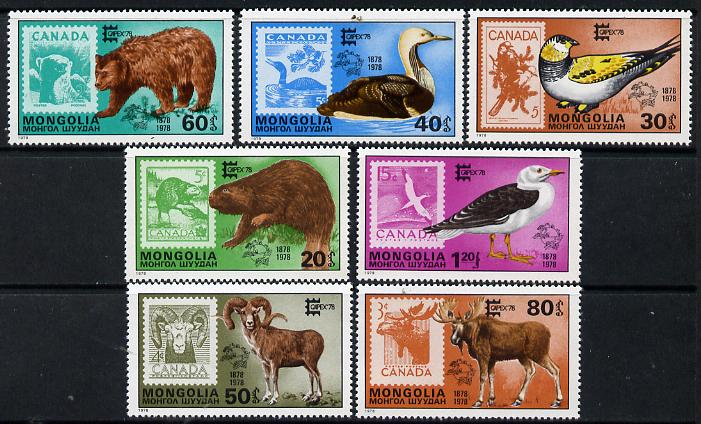 Mongolia 1978 'Capex 78' Stamp Exhibition (Stamp on stamps showing Animals & Birds) set of 7 unmounted mint, SG 1138-44