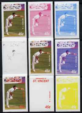 St Vincent - Grenadines 1988 Cricketers 45c R J Hadlee the set of 9 imperf progressive proofs comprising the 5 individual colours plus 2, 3, 4 and all 5-colour composites..., stamps on personalities, stamps on sport, stamps on cricket