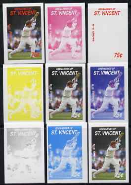 St Vincent - Grenadines 1988 Cricketers 75c M D Crowe the set of 9 imperf progressive proofs comprising the 5 individual colours plus 2, 3, 4 and all 5-colour composites ..., stamps on personalities, stamps on sport, stamps on cricket
