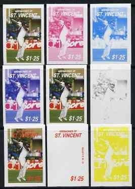 St Vincent - Grenadines 1988 Cricketers $1.25 C H Lloyd the set of 9 imperf progressive proofs comprising the 5 individual colours plus 2, 3, 4 and all 5-colour composite..., stamps on personalities, stamps on sport, stamps on cricket
