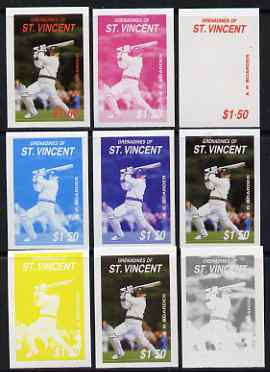 St Vincent - Grenadines 1988 Cricketers $1.50 A R Border the set of 9 imperf progressive proofs comprising the 5 individual colours plus 2, 3, 4 and all 5-colour composit..., stamps on personalities, stamps on sport, stamps on cricket