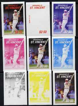 St Vincent - Grenadines 1988 Cricketers $2.50 G A Hick the set of 9 imperf progressive proofs comprising the 5 individual colours plus 2, 3, 4 and all 5-colour composites..., stamps on personalities, stamps on sport, stamps on cricket